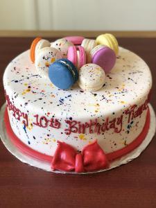 Rainbow Macarons Gluten Free Birthday Fondant Kids Cake