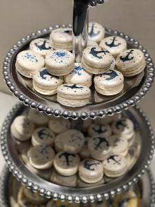 Macarons, gluten free, anchors, blue, baby boy, baby shower, sea