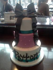Wedding cake, three tiered cake, fondant cake, custom cake, bow cake, white cake, denver, colorado