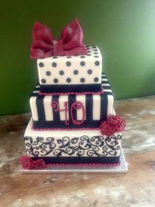 Wedding cake, birthday cake, fondant cake, square cake, tiered cake, black and white cake, denver, colorado