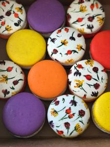 French macarons denver, hand painted, flowers, gluten free, cookies