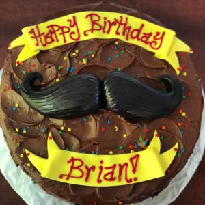 Birthday, cake, mustache, male, men, sprinkles, choclate
