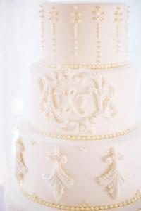 Royal cake, monogram, wedding cake Denver, fondant cake, four tier, filigree, traditional, elegant,