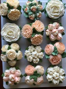 Buttercream, cupcakes, flowers, custom, baby shower, bridal shower