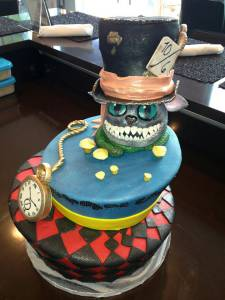 Alice in Wonderland cake, Disney cake, topsy turvy cake, two tier cake, custom cake, fondant cake, Cheshire Cat, denver, colorado