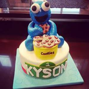 Cookie Monster cake, baby shower cake, birthday cake, fondant cake, figurine cake, custom cake, denver, colorado