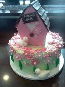 Birdhouse cake, fondant cake, bird cake, floral cake, custom cake, birthday cake, shaped cake, denver, colorado