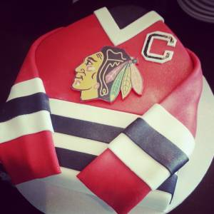 Chicago Blackhawks cake, jersey cake, hockey cake, custom cake, birthday cake, fondant cake, shaped cake, denver, colorado