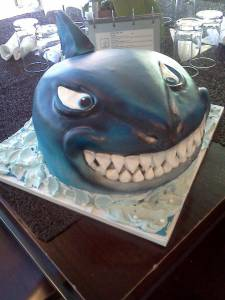 Bruce, shark cake, shaped cake, fondant cake, Finding Nemo, kids cake, Jaws, denver, colorado, custom cake,