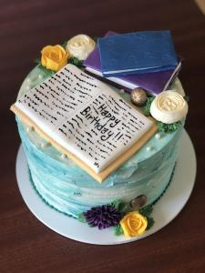 Birthday, cake, book, literature