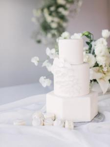 Wedding cake, white, fondant, custom, buttercream