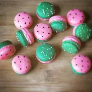 Macarons, mini desserts, watermelon, summer, kids