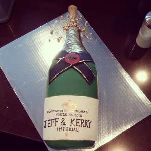 Champagne cake, shaped cake, bottle cake, fondant cake, celebration cake, engagement cake, bridal shower cake, baby shower cake, alcohol, liquor, denver, colorado