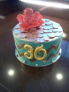 Chevron, birthday cake, teal cake, fondant cake, custom cake, peony, flowers, gold, denver, colorado, baby shower, bridal shower