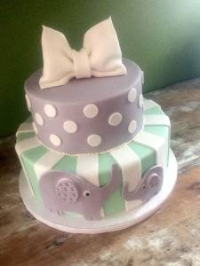 Two tier cake, elephant cake, kids cake, bridal shower cake, baby shower cake, birthday cake, denver colorado, grey cake, green cake, stripe cake