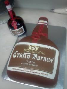 Grand Marnier cake, shaped cake, fondant cake, custom cake, alcohol, liquor, denver, colorado