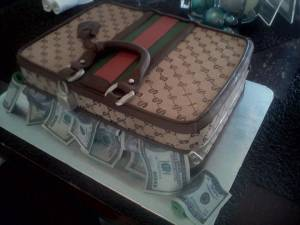 Gucci cake, briefcase cake, money cake, shaped cake, fondant cake, denver, colorado