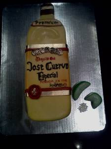 Jose Cuervo, tequila, shaped cake, fondant cake, birthday cake, limes, alcohol, liquor, denver, colorado
