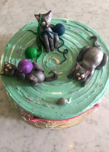 Cats, kittens, yarn, buttercream, birthday cake, custom cake, shaped cake, denver, colorado