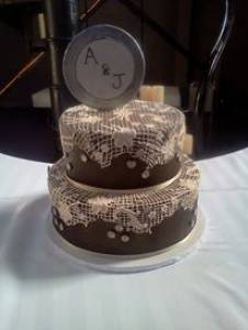 Two tier cake, wedding cake, lace cake, fondant cake, custom cake, Clocktower, wedding, birthday, denver, colorado