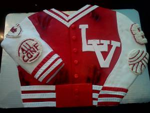 Letterman jacket, high school, college, custom cake, fondant cake, birthday cake, denver, colorado