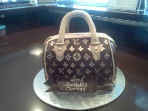 Louis Vuitton, purse cake, shaped cake, fondant cake, custom cake, hand painted cake, denver, colorado