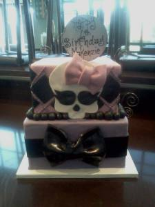 Two tier cake, birthday cake, square cake, fondant cake, custom cake, denver colorado, skull, girl, bow