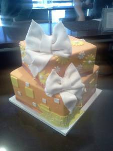 Two tier cake, custom cake, square cake, fondant cake, custom cake, bow cake, orange cake, denver colorado