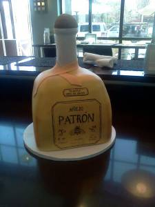 Patron, custom cake, birthday cake, fondant cake, shaped cake, alcohol, Liquor, tequila, denver, colorado