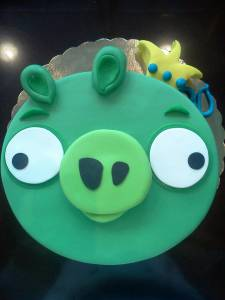 Angry birds, pigs, custom cake, fondant cake, birthday cake, denver, colorado