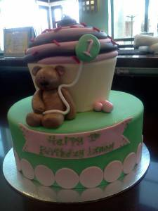 Cupcake cake, custom cake, birthday cake, fondant cake, teddy bear, denver colorado