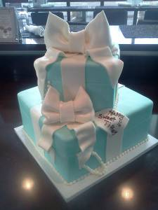 Tiffany's cake, two tier cake, square cake, fondant cake, jewelry, bows, pearls, custom cake, birthday cake, wedding cake, denver colorado