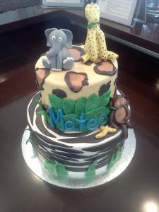 Baby shower cake, birthday cake, two tier cake, custom cake, fondant cake, zebra, cheetah, leopard, elephant, monkey, zoo, denver, colorado