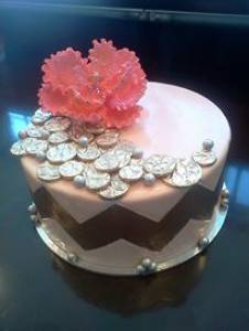 Fondant cake, birthday cake, custom cake, peony, gold, coral, denver, colorado
