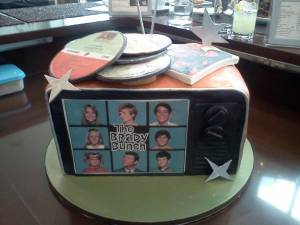 The Brady Bunch, television cake, tv cake, shaped cake, fondant cake, birthday cake, custom cake, denver, colorado