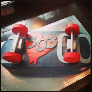 Skateboard cake, shaped cake, fondant cake, custom cake, birthday cake, denver, colorado